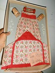 6 Pc Vintage 1950 Apron Toaster Cover, Egg Cups Timer Pink Red Roses Boxed Set