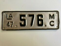 1947 Louisiana Motorcycle License Plate All Original Paint Harley Bmw Indian