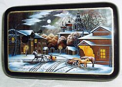 Russian Lacquer Box Mother Of Pearl Cityscape Moscow Winter Night Hand Painted