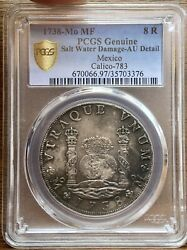 🔥scarce🔥silver Coin 8 Reales Philip V Year 1738 Mexico Mint M.f Pcgs Au
