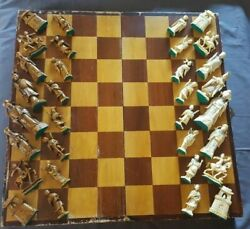 Antique Amazing Grand Toy Chess Rare Ivory Color And Brown Rare Wood Box عاج