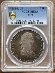 🔥ms63🔥silver Coin 8 Reales Ferdinand Vii Year 1814 Mint Lima PerÚ Ngc Ms63