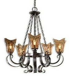 Chandelier 5 Light Metal/brass/glass  Oil Rubbed Bronze Finish With Toffee Art
