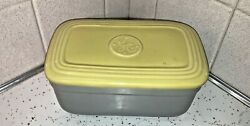 Antique Refrigerator Dish Made For General Electric By Hall China Gray And Yellow