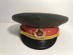 Ussr Russian Army Officer Parade Uniform Visor Hat Cap With Pins - Size 57