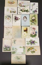 Lot Of 19 Antique Easter Post Cards - Flowers / The Cross- 1909-25 - Embossed
