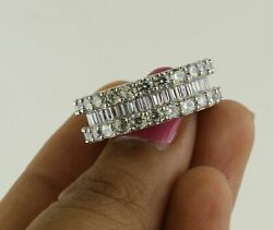4.48 Ct Baguette And Round Real Diamond 10k Gold Full Eternity Wedding Band Size 7