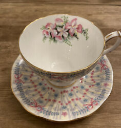 Queen Anne Royal Bridal Gown Orchid Bow Footed Teacup And Saucer See Below