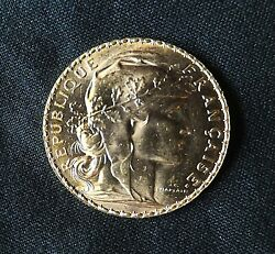 1908 French Gold 20 Francs Coin Rooster Au Brilliant Beautiful .1867 Oz