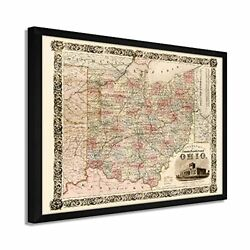 1851 Ohio Map - Framed Vintage Map Of Ohio Wall Art Poster Print