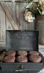 Antique Primitive Victorian Metal Spice Box With Six Tins