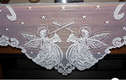 """Lace Mantel Scarf Ivory Angels Design 18"""" X 95 New"""