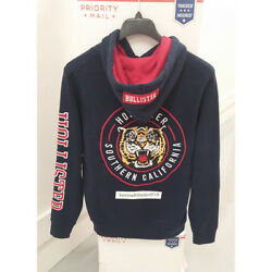 Hollister Mens Embroidered Tiger Graphic Hoodie Sweatshirts Navy Size Large