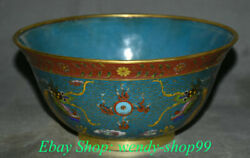 8 Old Chinese Cloisonne Enamel Copper Dynasty Palace 2 Dragon Bead Bowl Bowls