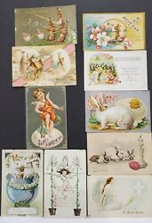 Lot Of 10 Antique Easter Post Cards W/ Bunnies And Angels - 1905-11 - Embossed