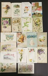 Lot Of 19 Antique Easter Post Cards Bells/flowers - 1909-17 Embossed-clapsaddle