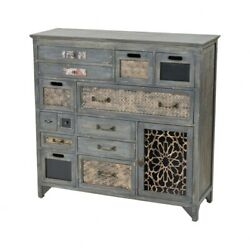 Rustic Antique Grey Cabinets With Decorative Accents Made Of Metal Wood In