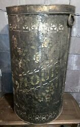Large Antique Flour Tin/tub/can From Old General Store 26.5 H X 15 Diameter