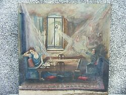 Antique Oil On Canvas Painting The Gambler And Death Unsigned Large