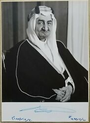 King Faisal Of Saudi Arabia Autographed Photograph Within Official Greeting Card