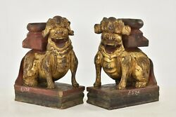 Pair Antique Chinese Red And Gilt Wood Carved Statue Sculpture Fu Foo Dog, 19th C