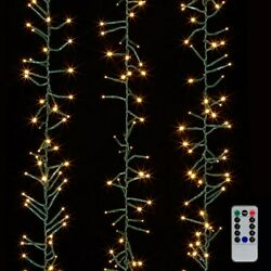 Raz Imports 19.6' Cluster Garland Green Wire, 600 White Lights And Remote