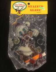Vintage Disney Donald Duck Stained Glass Christmas Ornament New Sealed Adler