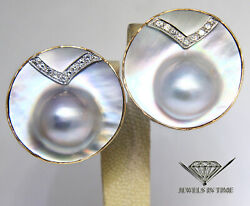 Mabe Blister Pearl And Diamond 14k Yellow Gold Round Shape Button Style Earrings