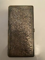 Vintage 1920and039s Sterling Silver Cigarette Case With Hand Chased Leaf Pattern