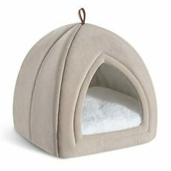 Cat Bed for Indoor Cats Cat Houses Dog Bed 15 19 inches 2 in 1 Small Beige