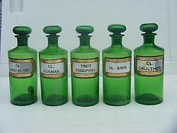 Antique Apothecary Bottles Green Set Of Five