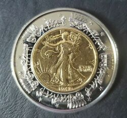 American Currencies Medals W/ Gold Plated Silver Standing Liberty Half Dollar