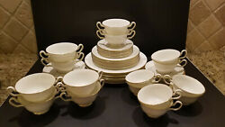 56pc 8 Svc Set Wedgwood Gloucester Bone China White W/ Gold Band Soup Cups