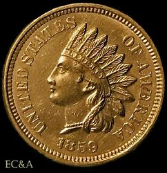 1859 Indian Head Cent Snow-3 Ngc Au Details Cleaned Popular Variety Ih666