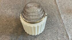 Milk Glass Art Deco Ribbed Light Shade Globe With Glass Diffusor And Ring