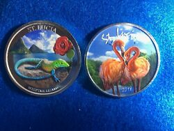 2in Lot1oz.999 Silverst.lucia Flamingo And Whitetail Lizardbrilliantly Colorized