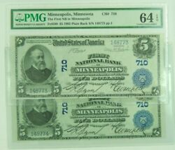 Lot Of 2 Consecutive Sn 1902 Minneapolis Minnesota Mn 5 National Currency Pmg