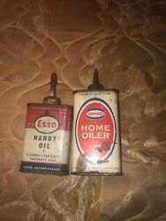 2 Vintage Home Oilers Esso And Sohio Oil Cans Gd Condition