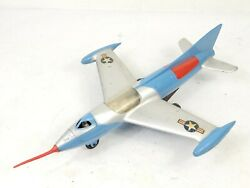 Vintage Marx Tin Friction Plastic Metal Toy Jet Airplane Air Force 10 Wingspan