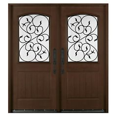 Fiberglass Glass Door With Wrought Iron Decoration Finished In Dark Mahogany