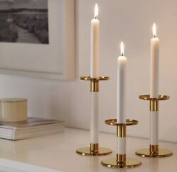 Candlestick Holders Set3 Pc Ivory Gold New