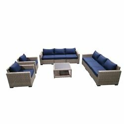 9-piece Outdoor Pation Funiture Set Wicker Rattan Sectional Sofa Couch With C...