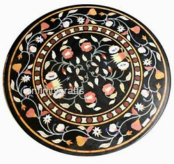 Marble Dining Table Top Inlay Multi Color Gemstones Floor Highlighter 40 Inches