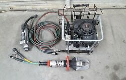 Lukas Hydraulic Jaws Of Life Set Cutter Gas Power Unit Ram Hoses Tested Working