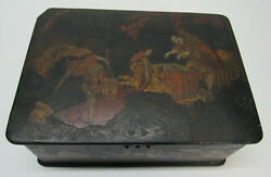 Japanese Wood Jewelry Box Trinket Box Figures Working Asian House Trees Antique