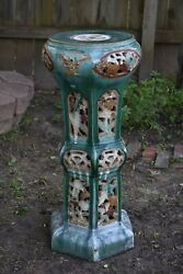 Antique Chinese Ceramic / Pottery Jardiniere Stand Qing Dynasty 19th C