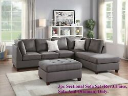 Modern Sectional Sofa W/ Ottoman And Pillows Living Room Microfiber Gray Chaise