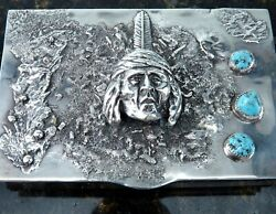 Sandcast Sterling And Turquoise Native American Table Box