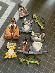 Vintage Dogs Cats Turtles Puffy Magnet Lot 8 Refrigerator Kitchen