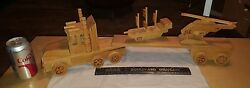 Vintage Handmade Wood Semi Toy Playset 18 Wheeler W Boat And Helicopter